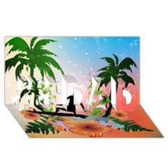 Tropical Design With Surfboarder #1 DAD 3D Greeting Card (8x4)