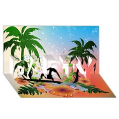 Tropical Design With Surfboarder PARTY 3D Greeting Card (8x4)