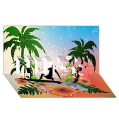 Tropical Design With Surfboarder HUGS 3D Greeting Card (8x4)