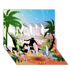 Tropical Design With Surfboarder TAKE CARE 3D Greeting Card (7x5)