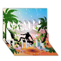 Tropical Design With Surfboarder You Did It 3d Greeting Card (7x5)