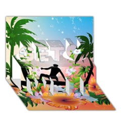 Tropical Design With Surfboarder Get Well 3d Greeting Card (7x5)
