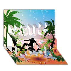 Tropical Design With Surfboarder You Rock 3D Greeting Card (7x5)
