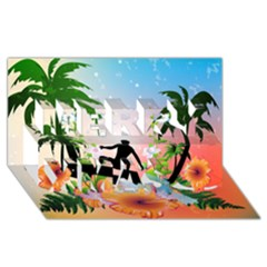 Tropical Design With Surfboarder Merry Xmas 3D Greeting Card (8x4)