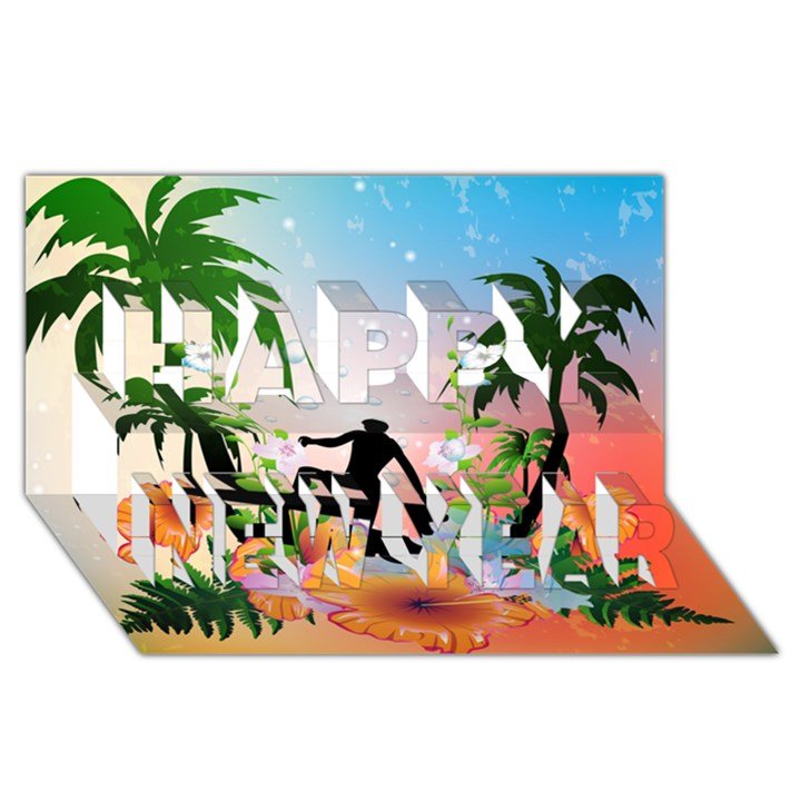 Tropical Design With Surfboarder Happy New Year 3D Greeting Card (8x4)