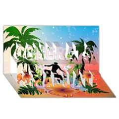Tropical Design With Surfboarder Congrats Graduate 3D Greeting Card (8x4)