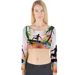 Tropical Design With Surfboarder Long Sleeve Crop Top