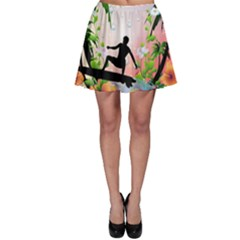 Tropical Design With Surfboarder Skater Skirts
