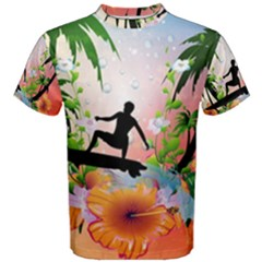 Tropical Design With Surfboarder Men s Cotton Tees
