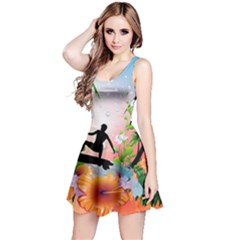 Tropical Design With Surfboarder Reversible Sleeveless Dresses