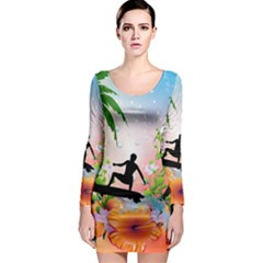 Tropical Design With Surfboarder Long Sleeve Bodycon Dresses