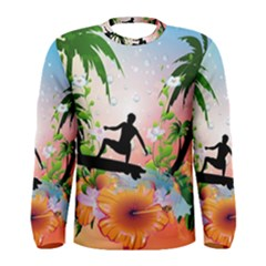 Tropical Design With Surfboarder Men s Long Sleeve T-shirts