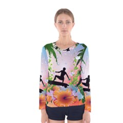 Tropical Design With Surfboarder Women s Long Sleeve T-shirts