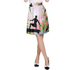 Tropical Design With Surfboarder A Line Skirts