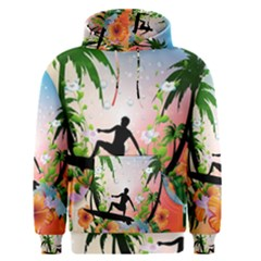 Tropical Design With Surfboarder Men s Pullover Hoodies