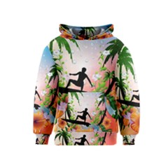 Tropical Design With Surfboarder Kid s Pullover Hoodies