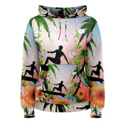Tropical Design With Surfboarder Women s Pullover Hoodies