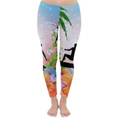 Tropical Design With Surfboarder Winter Leggings