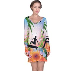 Tropical Design With Surfboarder Long Sleeve Nightdresses