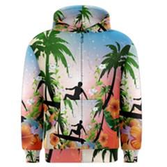 Tropical Design With Surfboarder Men s Zipper Hoodies