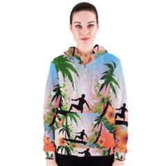 Tropical Design With Surfboarder Women s Zipper Hoodies