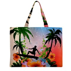 Tropical Design With Surfboarder Zipper Tiny Tote Bags