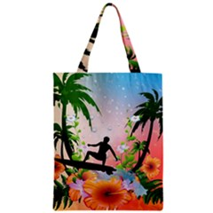 Tropical Design With Surfboarder Zipper Classic Tote Bags