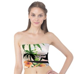 Tropical Design With Surfboarder Women s Tube Tops