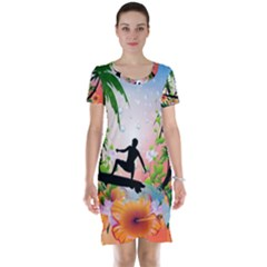 Tropical Design With Surfboarder Short Sleeve Nightdresses