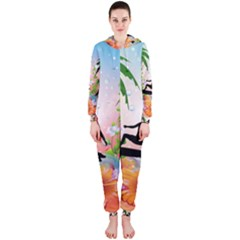 Tropical Design With Surfboarder Hooded Jumpsuit (Ladies)