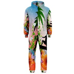 Tropical Design With Surfboarder Hooded Jumpsuit (men)