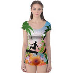 Tropical Design With Surfboarder Short Sleeve Leotard