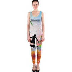 Tropical Design With Surfboarder OnePiece Catsuits