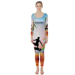 Tropical Design With Surfboarder Long Sleeve Catsuit