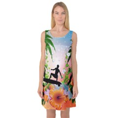 Tropical Design With Surfboarder Sleeveless Satin Nightdresses