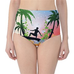 Tropical Design With Surfboarder High-Waist Bikini Bottoms
