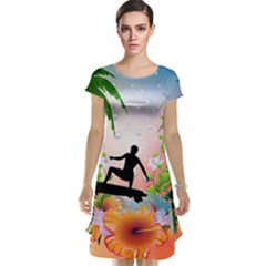 Tropical Design With Surfboarder Cap Sleeve Nightdresses