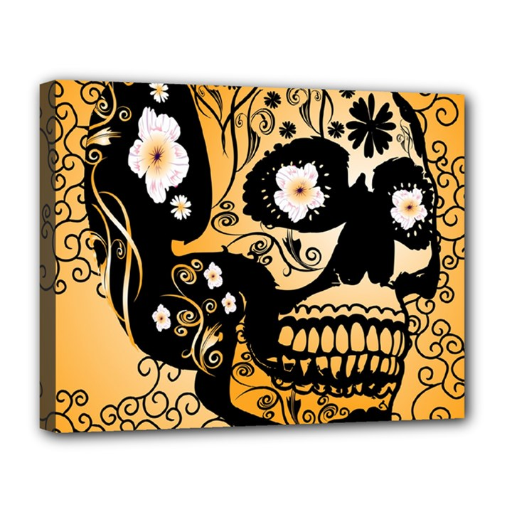Sugar Skull In Black And Yellow Canvas 14  x 11