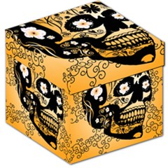 Sugar Skull In Black And Yellow Storage Stool 12