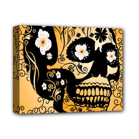 Sugar Skull In Black And Yellow Deluxe Canvas 14  X 11