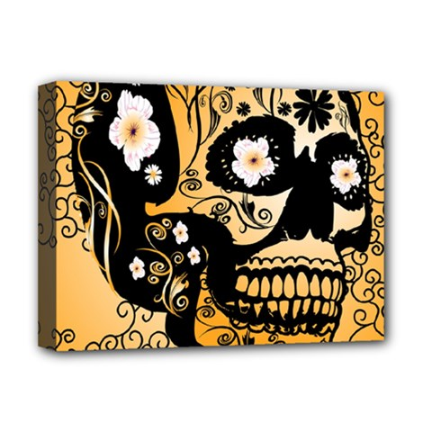Sugar Skull In Black And Yellow Deluxe Canvas 16  x 12