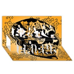 Sugar Skull In Black And Yellow Best Friends 3d Greeting Card (8x4)