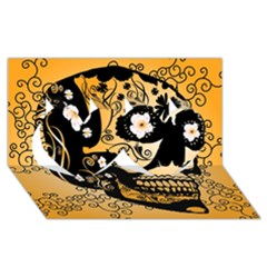 Sugar Skull In Black And Yellow Twin Hearts 3D Greeting Card (8x4)