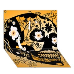 Sugar Skull In Black And Yellow Apple 3d Greeting Card (7x5)