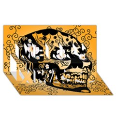 Sugar Skull In Black And Yellow Merry Xmas 3d Greeting Card (8x4)