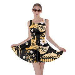 Sugar Skull In Black And Yellow Skater Dresses