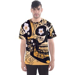 Sugar Skull In Black And Yellow Men s Sport Mesh Tees