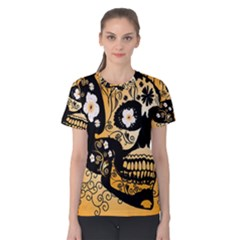 Sugar Skull In Black And Yellow Women s Cotton Tees