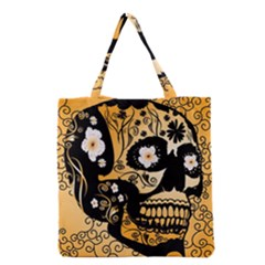 Sugar Skull In Black And Yellow Grocery Tote Bags