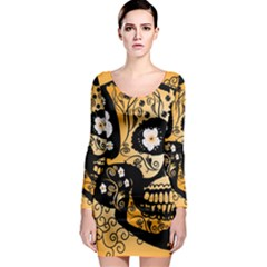 Sugar Skull In Black And Yellow Long Sleeve Bodycon Dresses